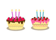 Geburtstagskuchen mit Kerze Lizenzfreies Stockbild