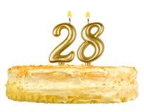 Geburtstagskuchen mit Kerzen Nr. achtundzwanzig Lizenzfreie Stockfotografie