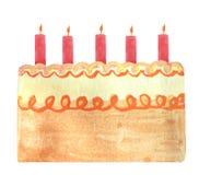 Geburtstagskuchen mit orange Kerzen vektor abbildung