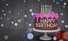 Geburtstagskuchen mit Wiedergabe der Kerzen 3d stockbilder