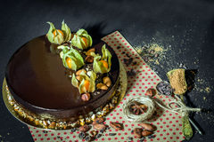 GeburtstagsSchokoladencremekuchen Stockfoto