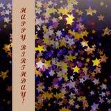 Geburtstagszusammenfassungsstern-Hintergrundkarte Lizenzfreie Stockbilder