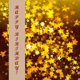 Geburtstagszusammenfassungsstern-Hintergrundkarte Stockfotografie
