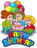 Geburtstagzeichen mit glücklicher Familie vektor abbildung