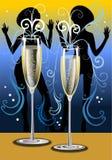 Gecanneleerde champagneglazen met het dansen meisjessilhou Stock Afbeelding