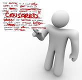 Gecensureerd - de Mens geeft Tekst Censuurvrijheid van Toespraak uit stock illustratie