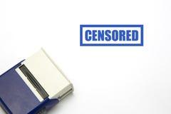 GECENSUREERDE blauwe rubberzegel Stock Foto