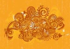 Gecentreerd Oranje Paisley Royalty-vrije Stock Afbeeldingen