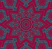 Gecentreerde rode blauwe grijs van het sterornament Stock Afbeelding