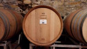 Gecentreerde wijnvatkelder royalty-vrije stock foto