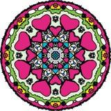 Gecharmeerd kleurend hart om mandala vector illustratie