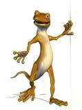 Gecko amical se penchant sur le bord