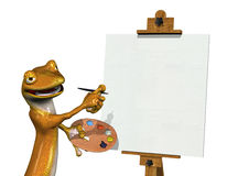 Gecko Artist with Blank Canvas 2 Royalty Free Stock Photography