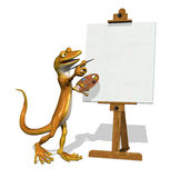Gecko Artist with Blank Canvas. 3d render of a cartoon gecko, who is starting to paint on a blank canvas Royalty Free Stock Photos