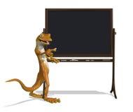 Gecko avec le tableau noir Images libres de droits