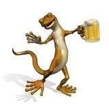 Gecko with Beer. 3D render of a happy gecko enjoying a mug of beer stock illustration