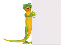 Gecko with a blank board Royalty Free Stock Photography