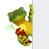 Gecko with a blank sign Stock Photography