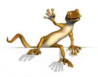 Gecko Climbing onto an Edge. 3D render of a cartoon gecko climbing onto an edge Royalty Free Stock Images