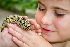 Gecko della holding Fotografie Stock Libere da Diritti