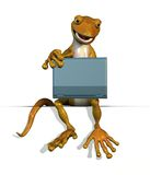 Gecko on Edge with Laptop stock illustration
