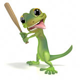 Gecko holding baseball bat Royalty Free Stock Photo