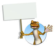 Gecko Holding a Blank Sign stock illustration