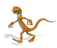 Gecko in a Hurry. 3D render of a cartoon gecko on the run vector illustration