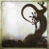 Gecko im Kristallglas des Spiegels stockbilder