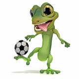 Gecko kicking soccer ball Stock Photos