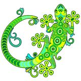 Gecko Lizard Ornamental Tattoo Style Royalty Free Stock Image
