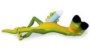Gecko med en flaska av vatten vektor illustrationer