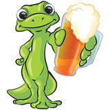 Gecko Offering Beer. An illustration of a gecko holding out a mug of beer, isolated on a white background vector illustration