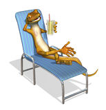 Gecko Relaxing. 3d render of a cartoon gecko relaxing on a lawn chair with a glass of lemonade stock illustration