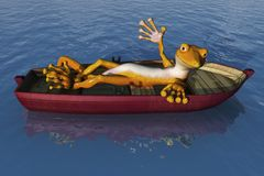 Gecko at Sea. A cartoon gecko relaxes on a rowboat - 3D render vector illustration