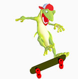 Gecko toon on skateboard Stock Photos