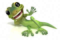 Gecko waving laying down. Gecko waving while laying down with huge smile on face on white background. Clipping path included royalty free illustration