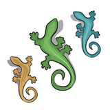 Geckor som drar tecknad filmillustrationen stock illustrationer