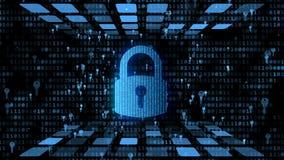 Gecodeerde die gegevens door digitaal stootkussenslot worden beschermd, elektronische zeer belangrijke avpbescherming vector illustratie