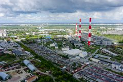 Gecombineerde hitte en machtsfabriek Tyumen Rusland royalty-vrije stock afbeelding