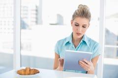 Geconcentreerde elegante vrouw die tablet gebruiken terwijl het hebben van ontbijt stock afbeelding