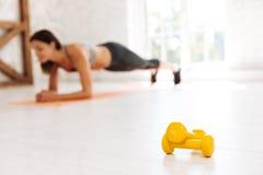 Geconcentreerde foto op gele domoren die die op de vloer liggen stock afbeelding