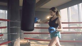 Geconcentreerde geschikte vrouw die ponsenzak raken tijdens opleiding stock footage