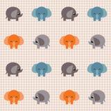 Gecontroleerd retro patroon met kleine leuke olifanten Stock Afbeeldingen
