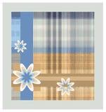 Gecontroleerde achtergrond met linten en bloemen stock illustratie