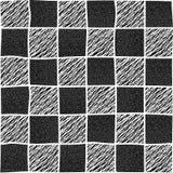 Gecontroleerde hand getrokken illustratie met abstracte elementen Seamles Stock Afbeelding