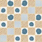 Gecontroleerde hand getrokken illustratie met abstracte elementen Seamles Royalty-vrije Stock Afbeeldingen