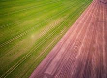 Gecultiveerde landbouwgrond in de lente royalty-vrije stock afbeeldingen