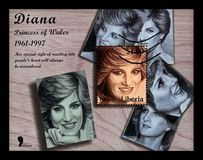 Gedächtnis von Prinzessin Diana, Poststempel von Liberia, circa 1997, Stockfotografie