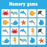 Gedächtnisspiel mit Bildozeantieren für Kinder, Spaßausbildungsspiel für Kinder, Vorschultätigkeit, Aufgabe für die Entwicklung v lizenzfreie abbildung